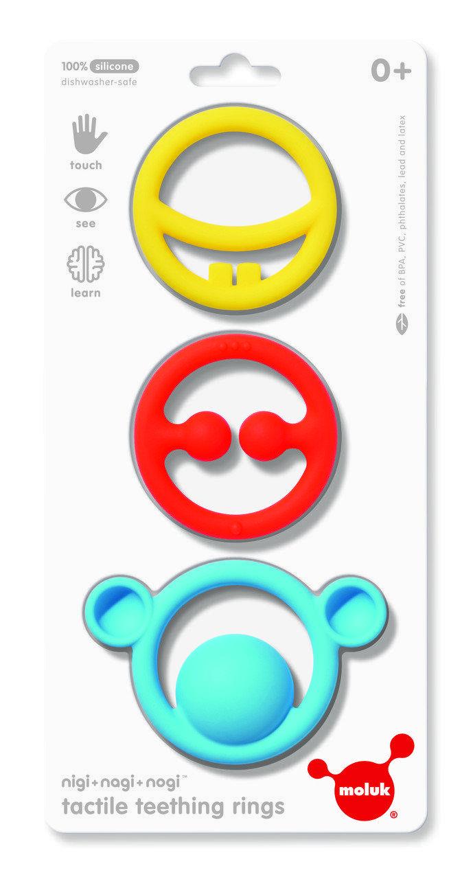 Игрушка-прорезыватель Moluk Nigi+Nagi+Nogi (яркие цвета, 3 шт в уп.)