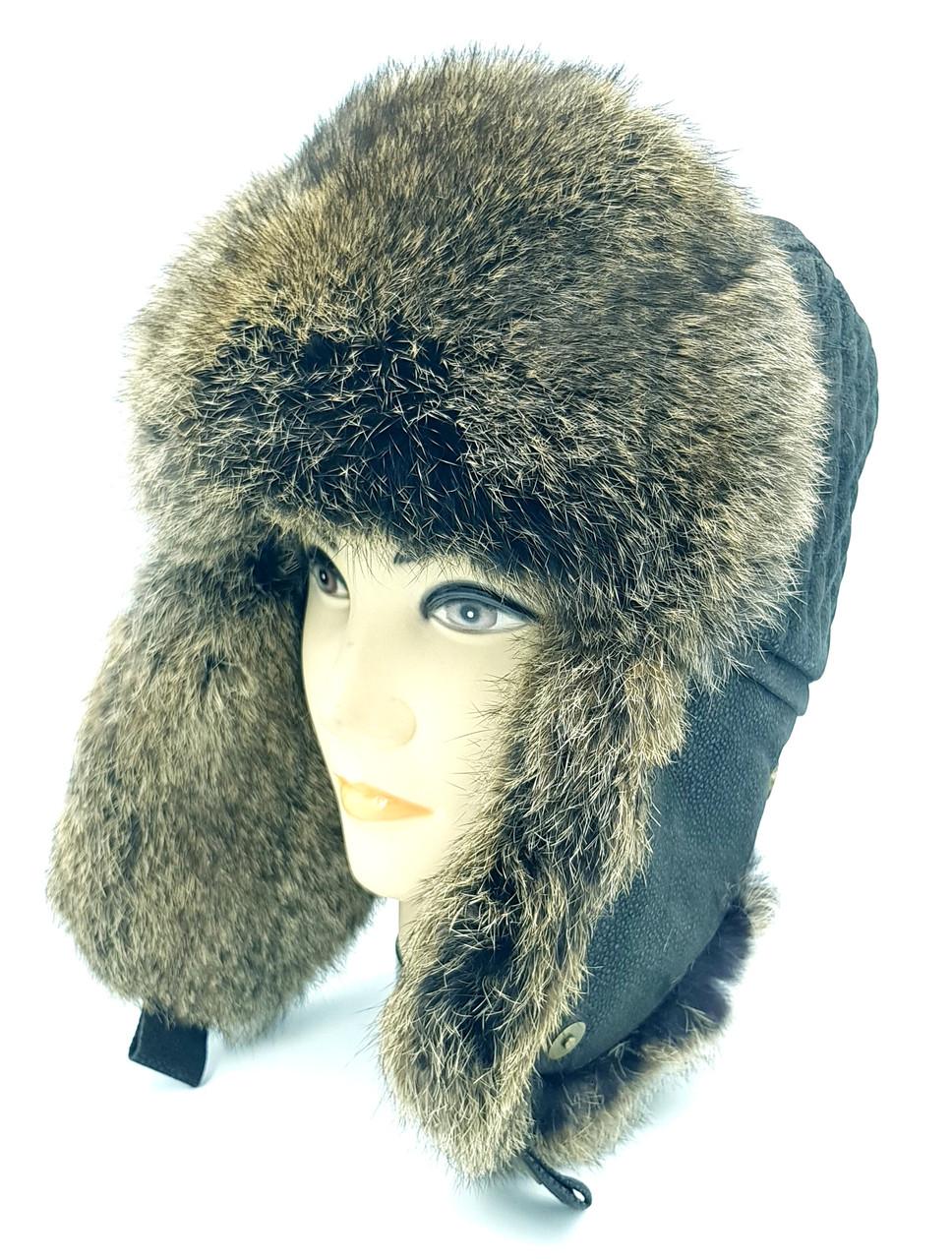 Зимняя мужская шапка-ушанка Klaus Krec 56-58 Чёрная c Рыжим ( 09/3)