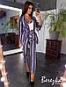 Костюм женский брючный элегантный в полоску - майка, брюки и пиджак с поясом Db1745