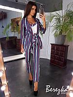 Костюм женский брючный элегантный в полоску - майка, брюки и пиджак с поясом Db1745, фото 1