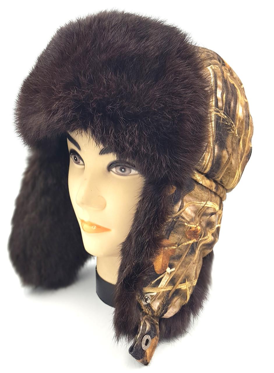 Зимняя мужская шапка-ушанка Klaus Для Охоты Коричневый XL(09|6)