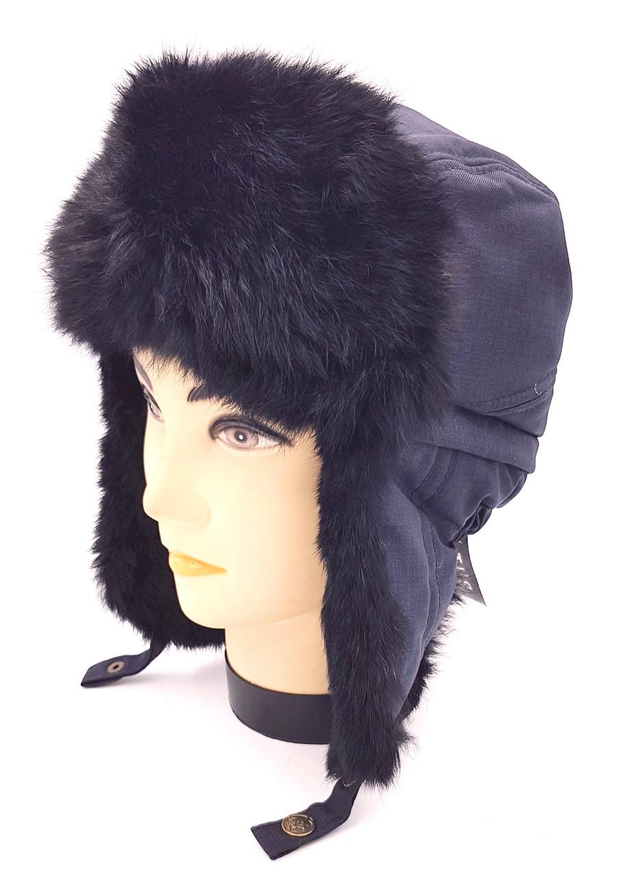Зимняя мужская шапка-ушанка Чёрная
