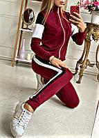 Комбинированный спортивный костюм кофта+брюки с лампасами в цвете бордо