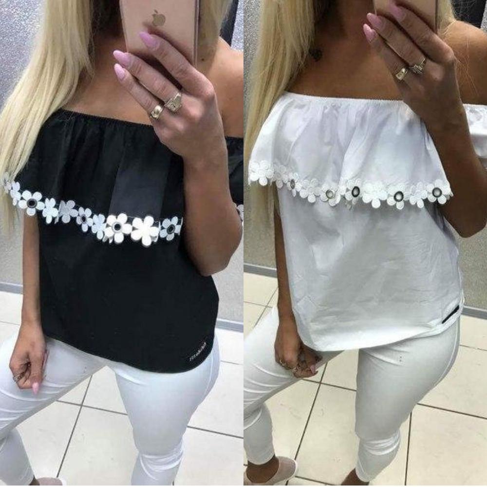 Блуза - топ женская, с широким воланом, повседневная, с открытыми плечами, декор кружевом