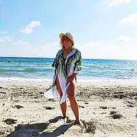 Размер 48. Белый пляжный женский халат с пальмовыми листьями, белое парео для пляжа с зелеными листьями