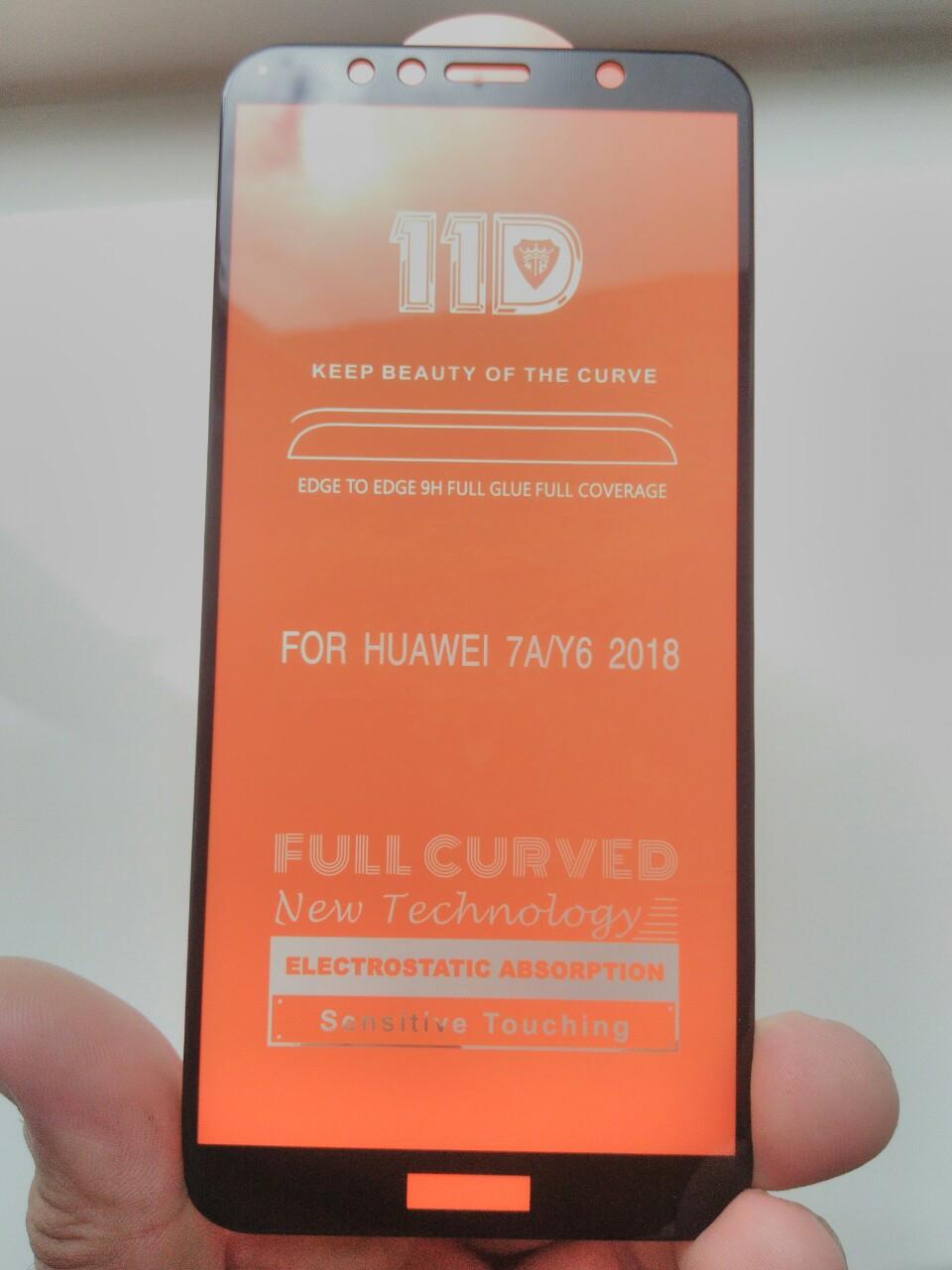 Защитное 11D  стекло   Huawei Y6  2018 / Y6 Prime 2018 (черн.)