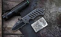 Нож складной  с брутальной формой,мощная рукоять из стальных пластин, компактный нож на каждый день, фото 1