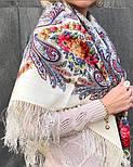 Сон бабочки 1463-1, павлопосадский платок шерстяной с шелковой бахромой, фото 7