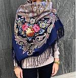 Сон бабочки 1463-12, павлопосадский платок шерстяной с шелковой бахромой, фото 10