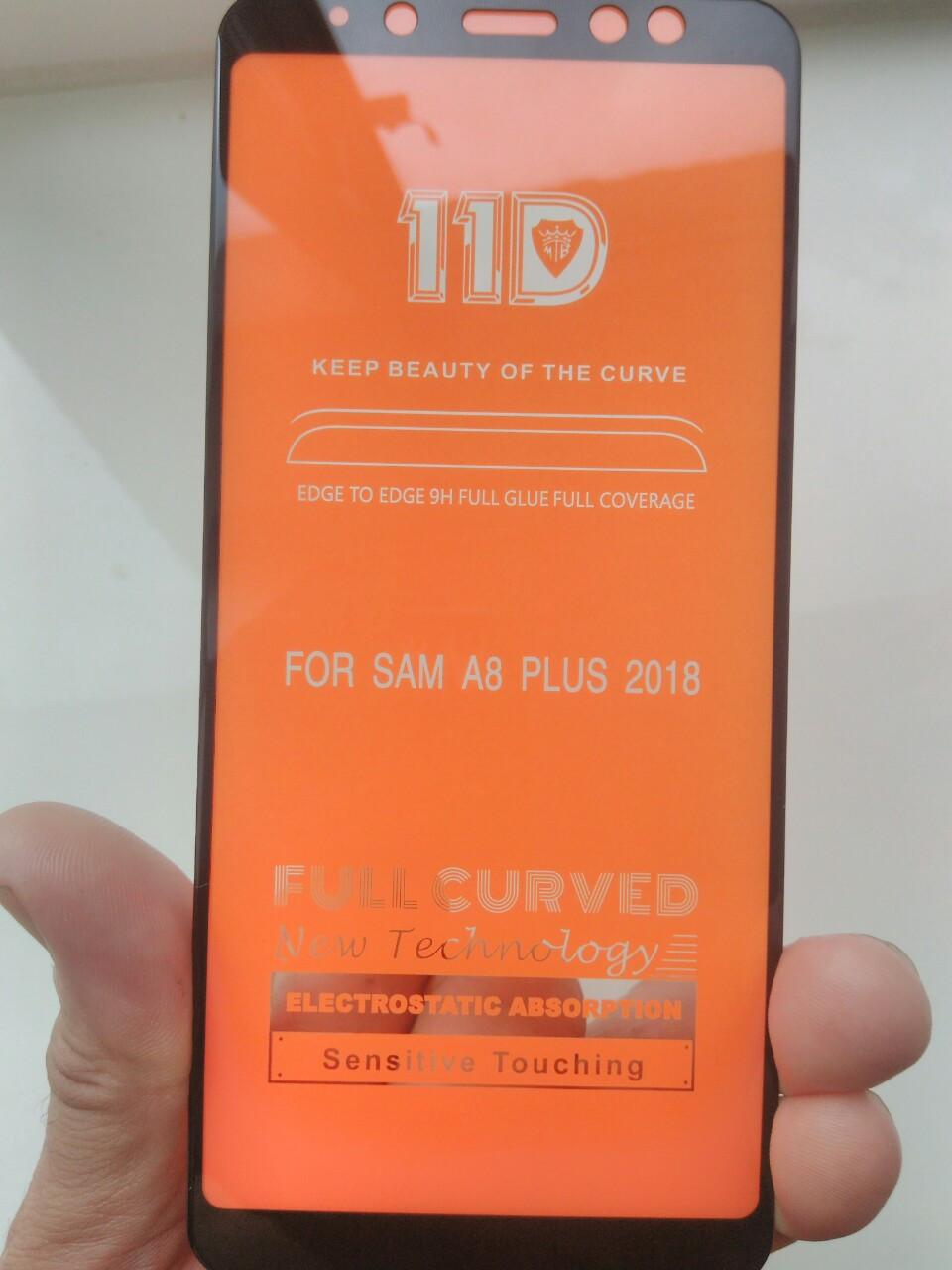 Защитное  11D стекло Full Glue Samsung A8 plus 2018 /A 730 (черный)
