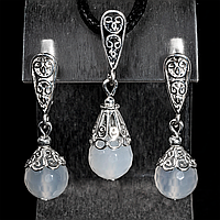 Комплект срібний кулон і сережки з білим агатом, Ø10 мм, 085КМА, фото 1