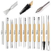 Стеки для лепки набор 11 шт. Металлические с деревянными ручками