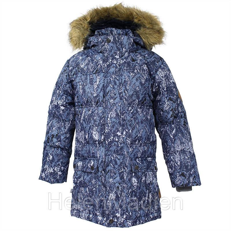 Пуховая парка куртка для мальчика HUPPA LUCAS тёмно-синий с принтом 73286