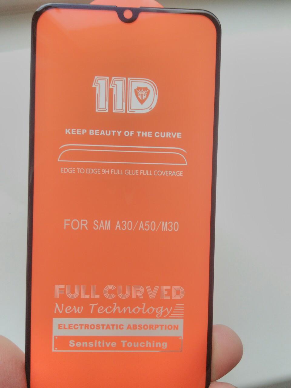 Защитное 11D  стекло Full Glue Samsung  M30 / A30 /A20 / A50  2019 (черное)