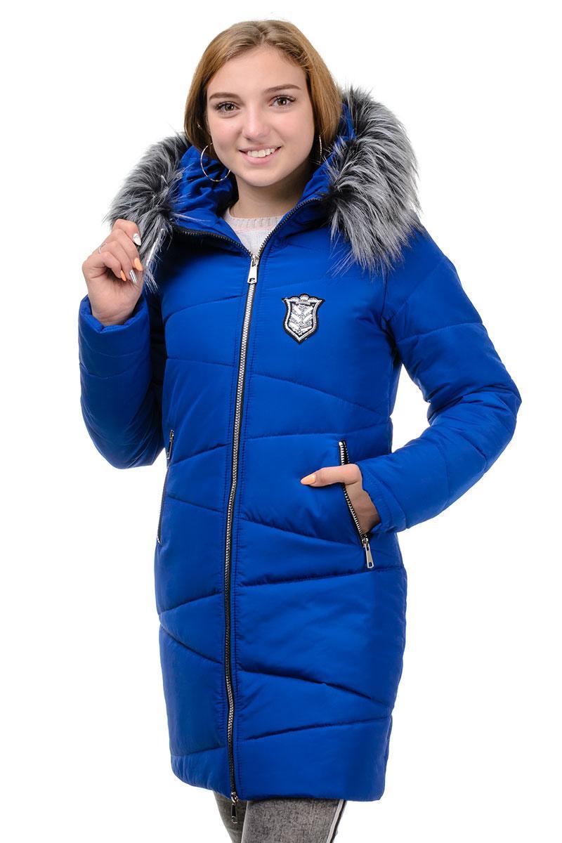 Теплое зимнее подростковое пальто электрик
