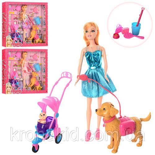 Игровой набор кукла с собачкой HB016 / Кукла с 2 собачками, коляской и аксессуарами