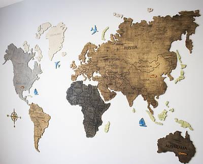 Карта мира на стену из фанеры тонированая