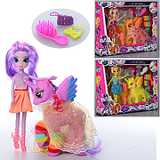 Игровой набор кукла и лошадка с крыльями 1015 / Фигурка пони-единорога и кукла с аксессуарами