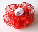 Бант на резинке красные розы, диаметр 8 см, фото 2