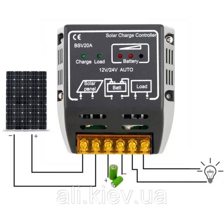 20A Регулятор заряду батареї контролер заряду сонячної панелі Безпечний захист сонячної панелі