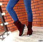 Демисезонные женские сапоги цвета марсала, натуральная замша, фото 3