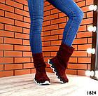 Демисезонные женские сапоги цвета марсала, натуральная замша, фото 4