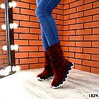 Демисезонные женские сапоги цвета марсала, натуральная замша, фото 5
