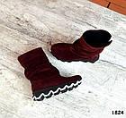 Демисезонные женские сапоги цвета марсала, натуральная замша, фото 6