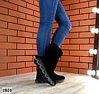 Демисезонные женские сапоги черного цвета, натуральная замша, фото 4
