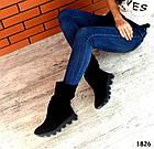 Демисезонные женские сапоги черного цвета, натуральная замша, фото 6