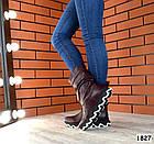 Демисезонные женские сапоги бордового цвета, натуральная кожа 37 ПОСЛЕДНИЙ РАЗМЕР, фото 3