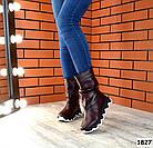 Демисезонные женские сапоги бордового цвета, натуральная кожа 37 ПОСЛЕДНИЙ РАЗМЕР, фото 5