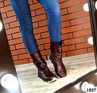 Демисезонные женские сапоги бордового цвета, натуральная кожа 37 ПОСЛЕДНИЙ РАЗМЕР, фото 4