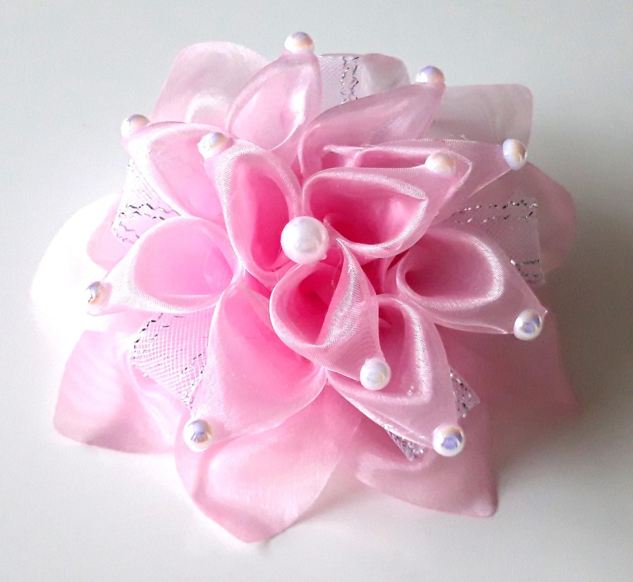 Бант ручной работы, розовый цветок и бусины, диаметр 15см