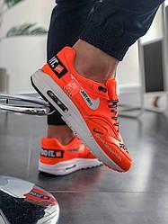 Мужские кроссовки Nike Air Max 1 Just Do It Pack Orange (люкс копия)