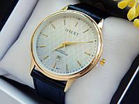 Мужские наручные часы Orext на кожаном ремешке,золотые с белым циферблатом