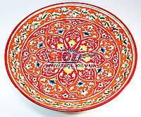Ляган (узбекская тарелка) 37см для подачи плова керамический (ручная роспись) (цвет красный, вар.4)