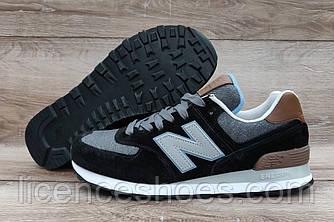 Чоловічі чорні кросівки New Balance 574 Black/White