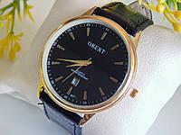 Мужские наручные часы Orext на кожаном ремешке,золотые с черным циферблатом