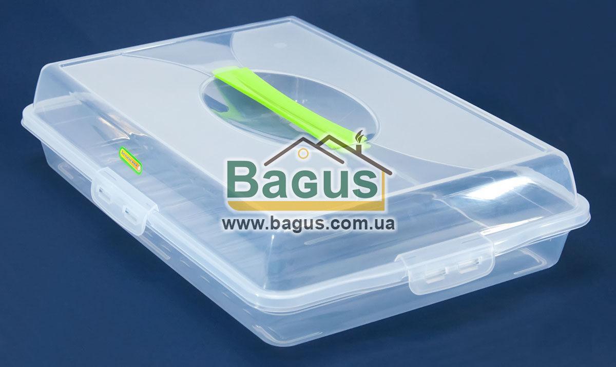 Тортовница прямоугольная с крышкой 41х27х10cм пластиковая (цвет - прозрачный) Алеана ALN-169057-4