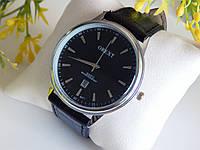 Мужские наручные часы Orext на кожаном ремешке,серебряные с черным циферблатом