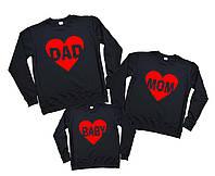 Комплект семейных свитшотов - Dad Mom baby в сердцах