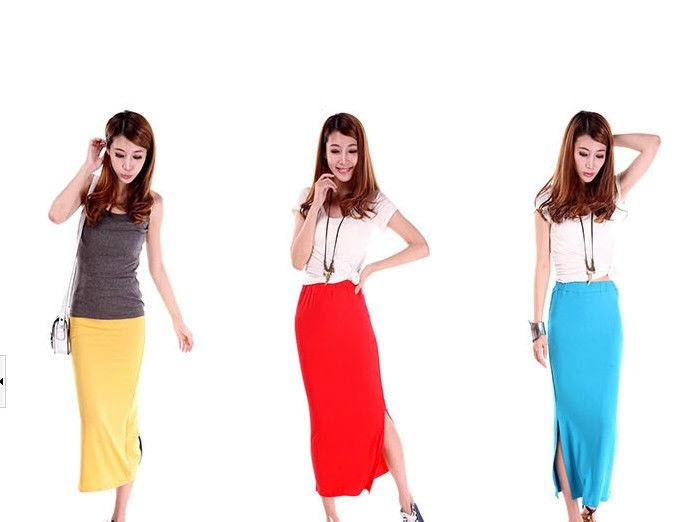 Легкая длинная юбка с разрезом макси