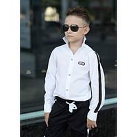 Белая стильная  рубашка с лампасом  для мальчика, подростка