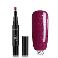 Лак-маркер для ногтей, однофазный гель-лак One step, бордовый с глиттером 058
