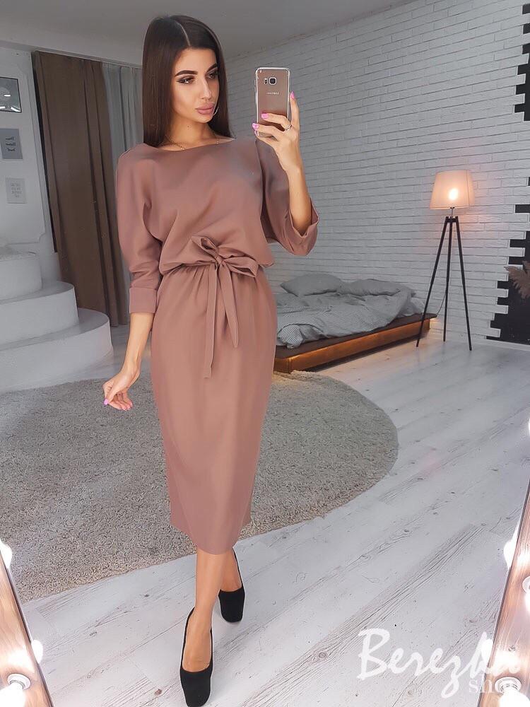 Платье миди, костюмка. Размер: S, M. Разные цвета (1111)