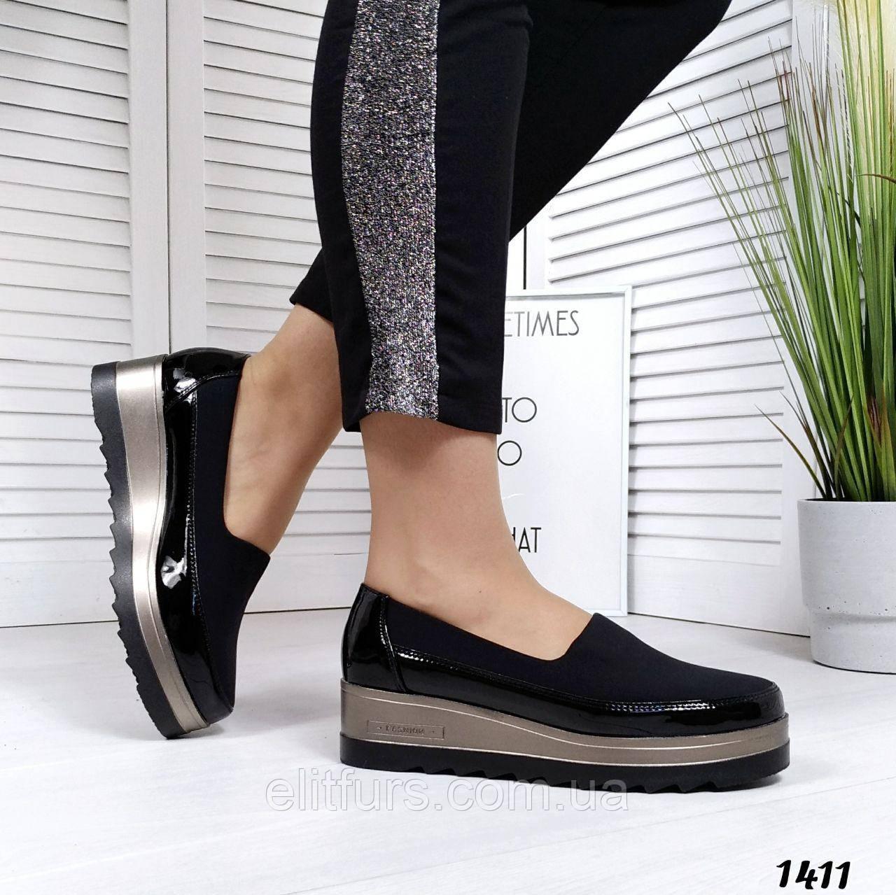 Туфли стильные на танкетке, эко-лак+стрейч