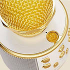 Bluetooth микрофон-караоке WS-858 с динамиком (колонкой), слотом USB и FM тюнером (Золотой), фото 4