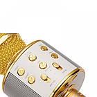 Bluetooth микрофон-караоке WS-858 с динамиком (колонкой), слотом USB и FM тюнером (Золотой), фото 8