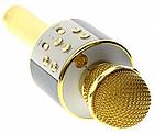 Bluetooth микрофон-караоке WS-858 с динамиком (колонкой), слотом USB и FM тюнером (Золотой), фото 9